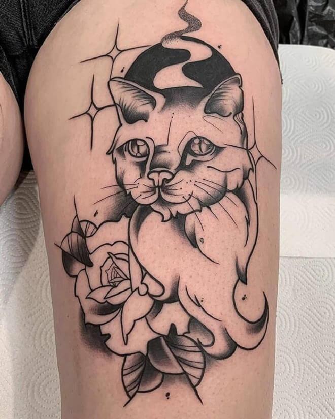 Cat Neo Traditional Tattoo