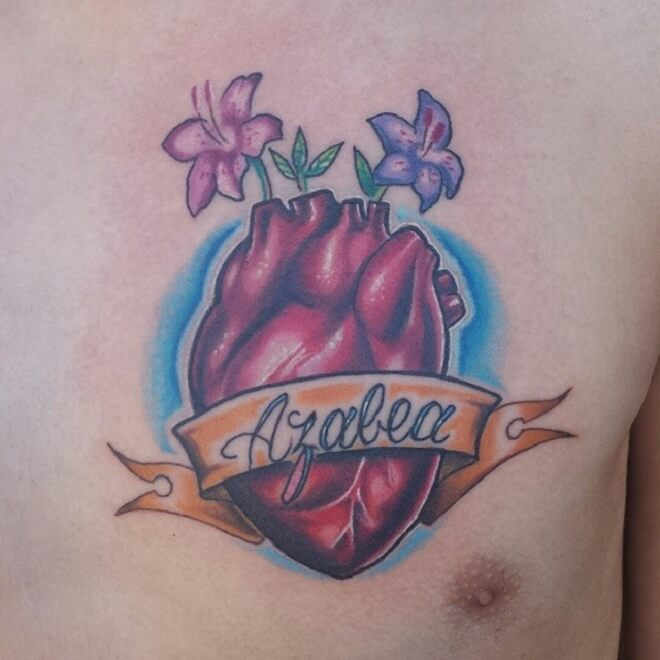 Chest Anatomical Heart Tattoo