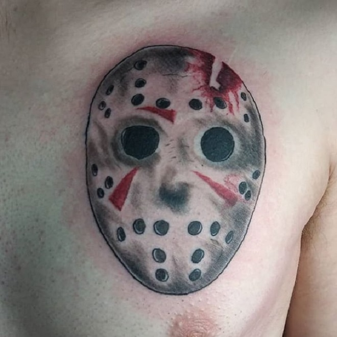 Chest Jason Mask Tattoo