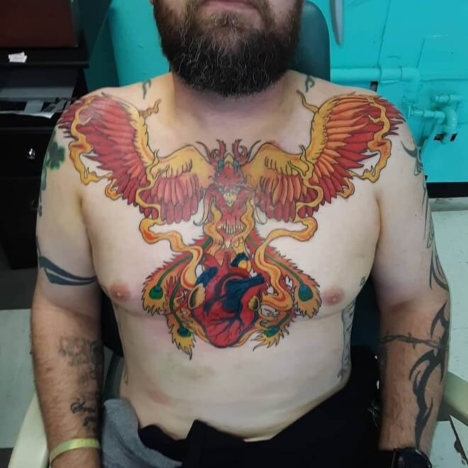 Chest Phoenix Tattoo