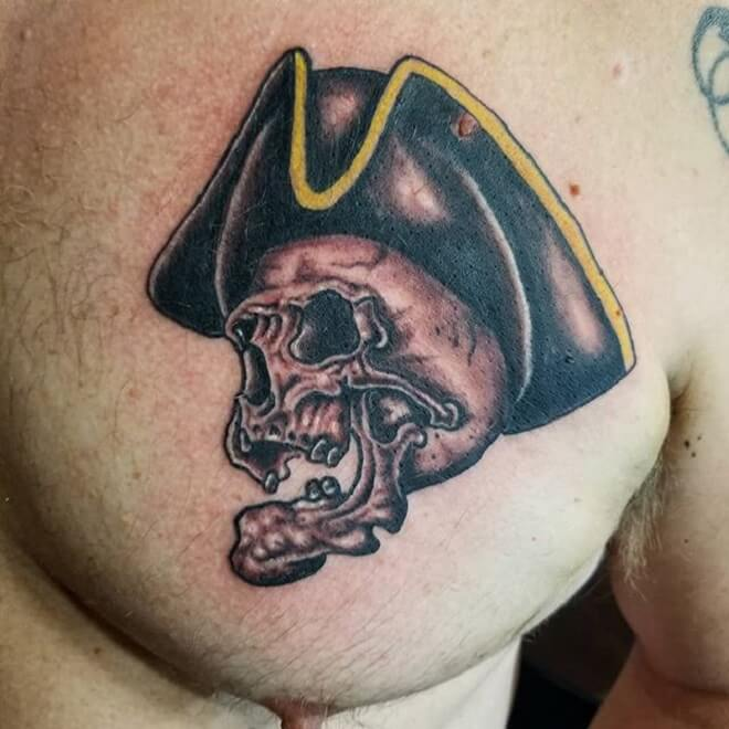 Chest Pirate Skull Tattoo