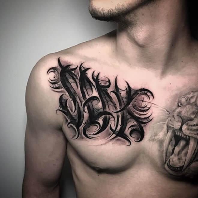 Chest Script Tattoo