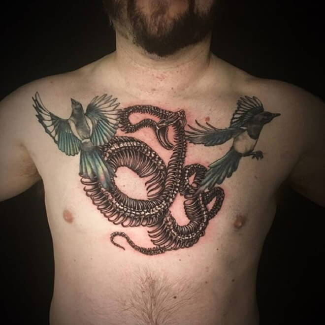 Chest Snake Skeleton Tattoo