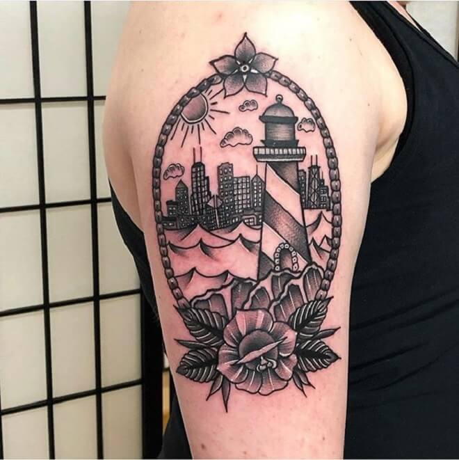 Chicago Lighthouse Tattoo
