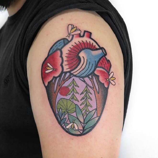 Color Anatomical Heart Tattoo