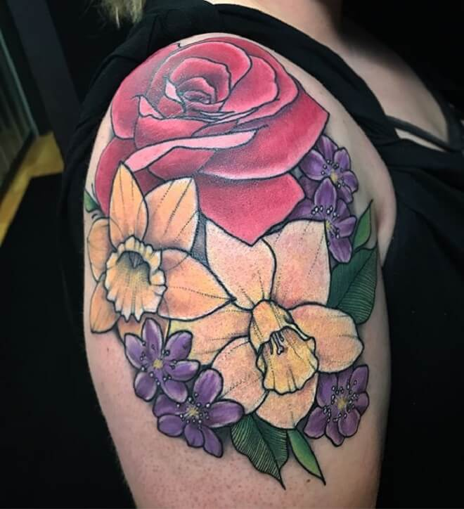 Color Flower Shoulder Tattoo