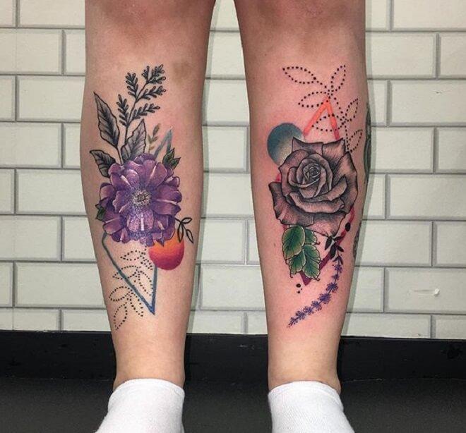 Color Geometric Flower Tattoo