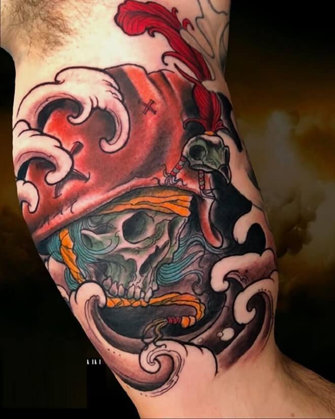 Color Pirate Skull Tattoo