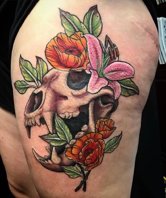 Colorful Bear Skull Tattoo