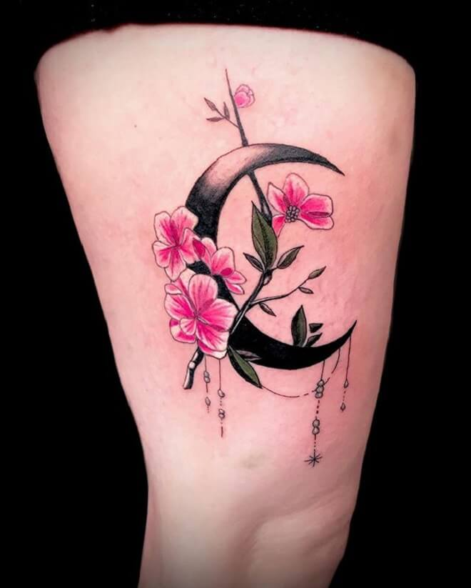 Colorful Crescent Moon Tattoo