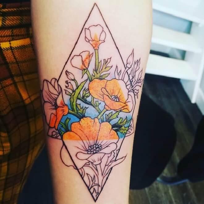 Colorful Geometric Flower Tattoo