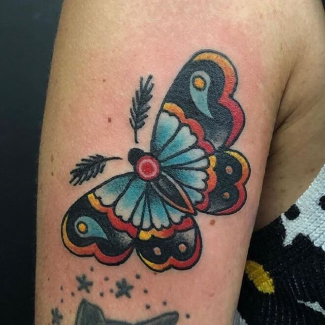 Colorful Moth Tattoo