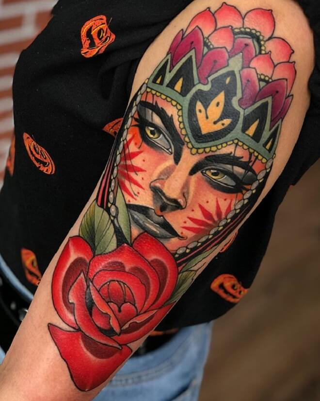 Colorful Neo Traditional Tattoo