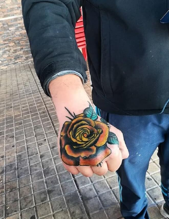 Colorful Rose Hand Tattoo