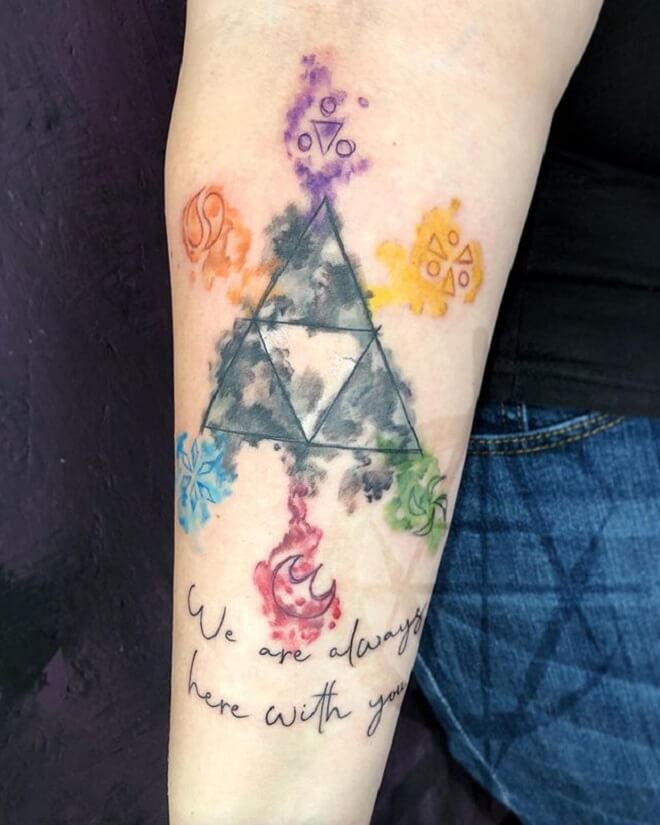 Colorful Triforce Tattoo