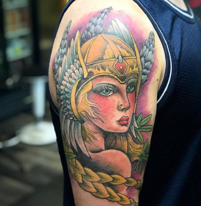 Colorful Valkyrie Tattoo