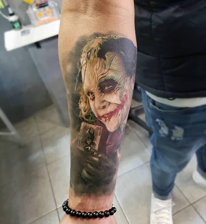 Crazy Arm Joker Tattoo