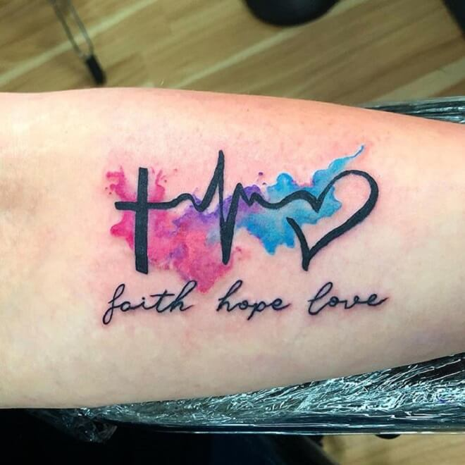 Cross Heartbeat Tattoo