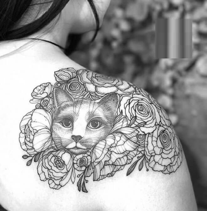 Cute Flower Shoulder Tattoo