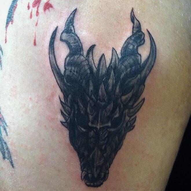 Dragon Skull Black Tattoo