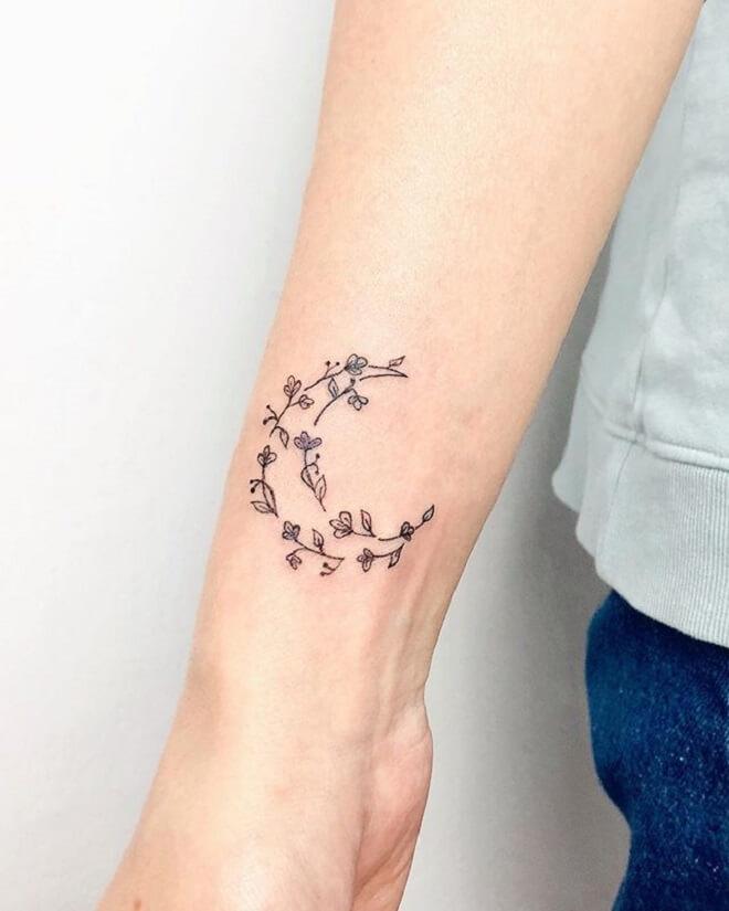 Floral Crescent Moon Tattoo