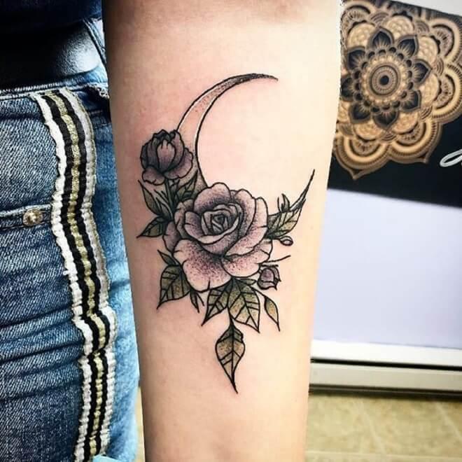Flower Crescent Moon Tattoo