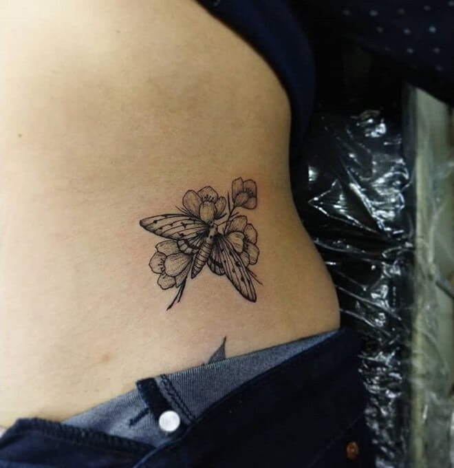 Flower Moth Tattoo