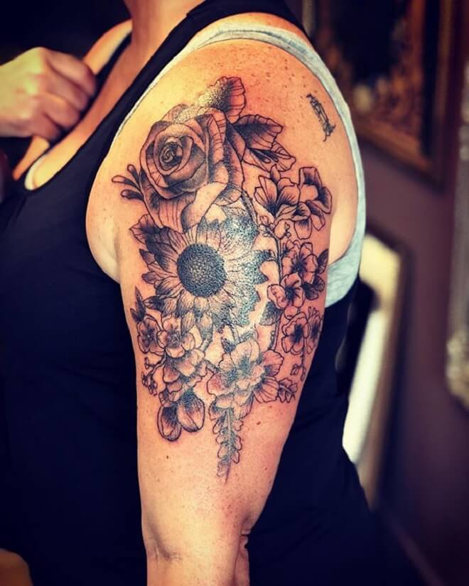 Flower Shoulder Grey Tattoo