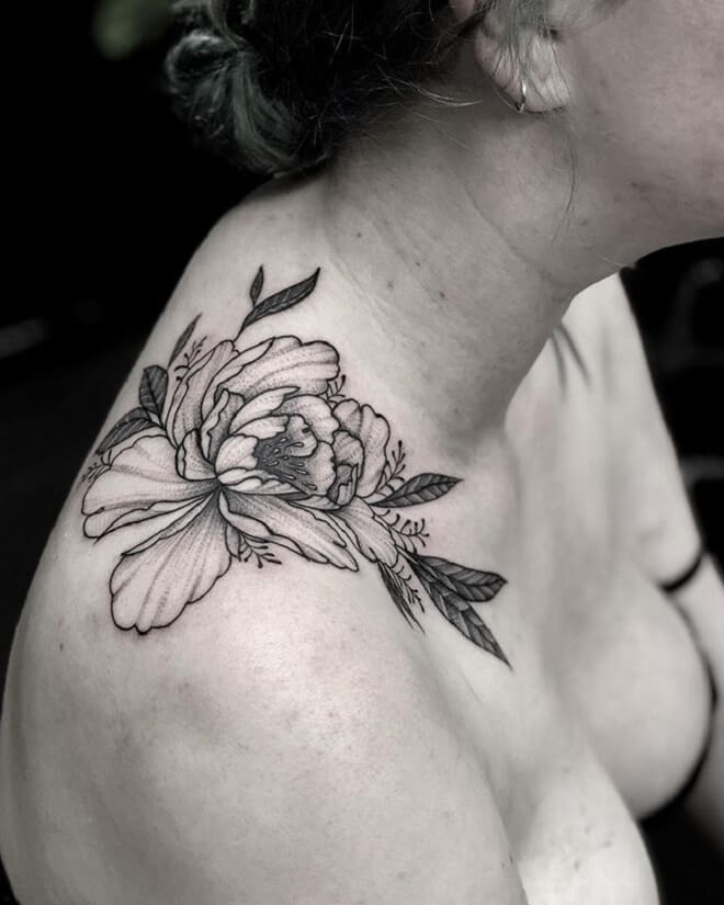 Flower Shoulder Tattoo Artist