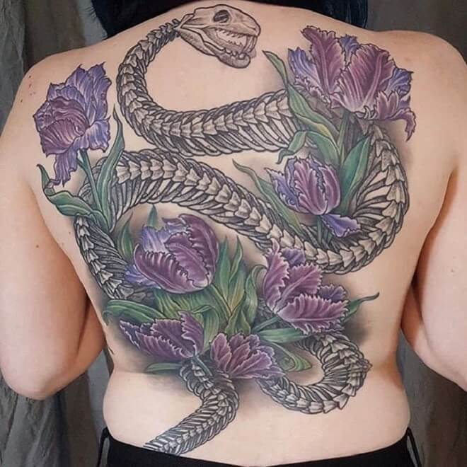 Flower Snake Skeleton Tattoo