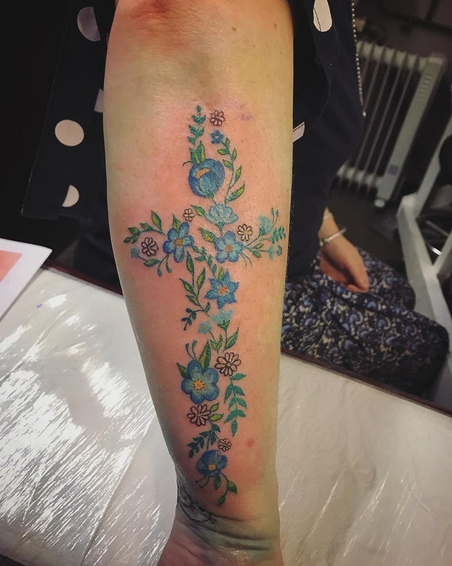 Forearm Floral Tattoo