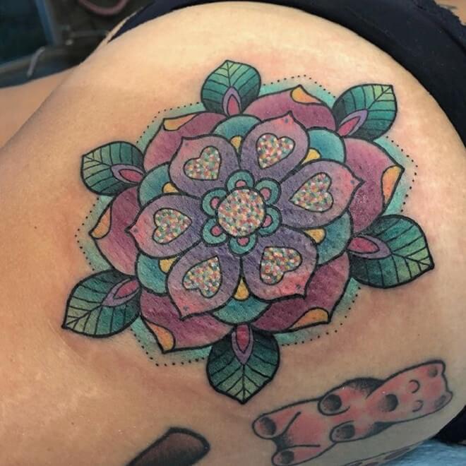 Geo Flowers Butt Tattoo