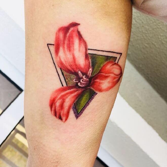 Geometric Red Flower Tattoo