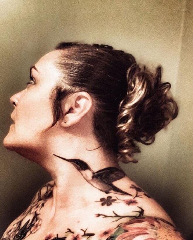 Girl Neck Bird Tattoo