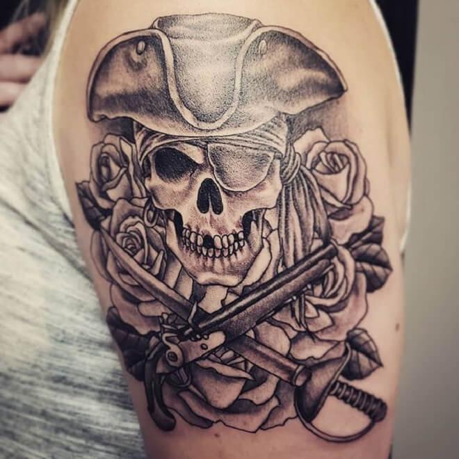 Girl Pirate Skull Tattoo