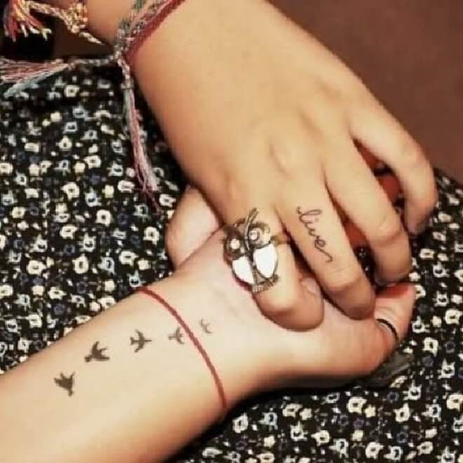 Hand Flock of Birds Tattoo