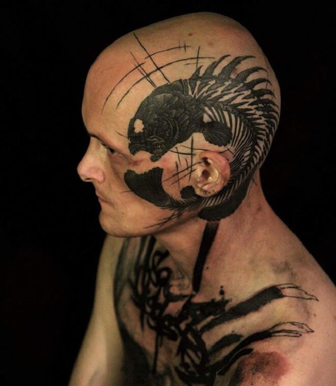 Head Fish skeleton Tattoo