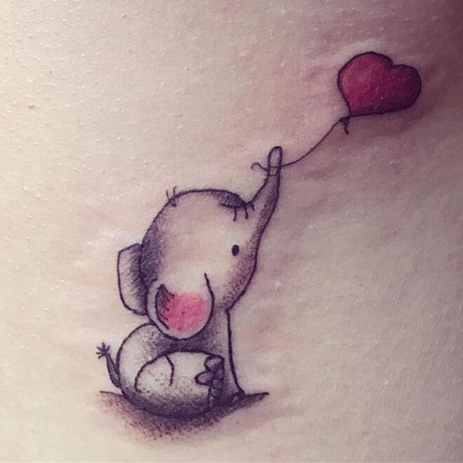 Heart Baby Elephant Tattoo