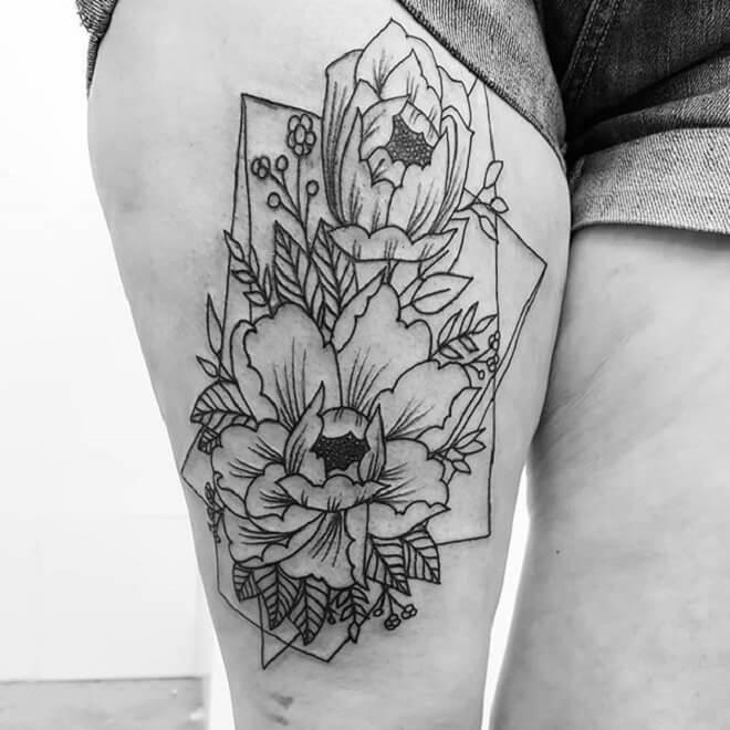 Hip Geometric Flower Tattoo