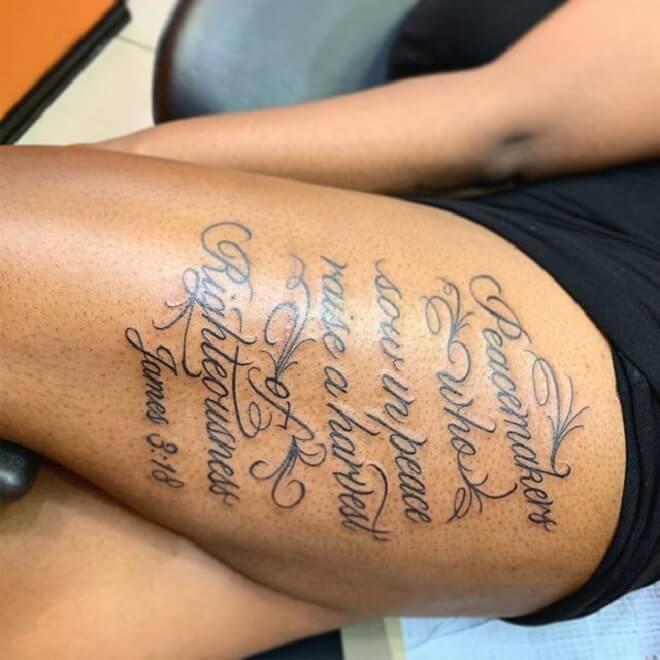 Hip Script Tattoo