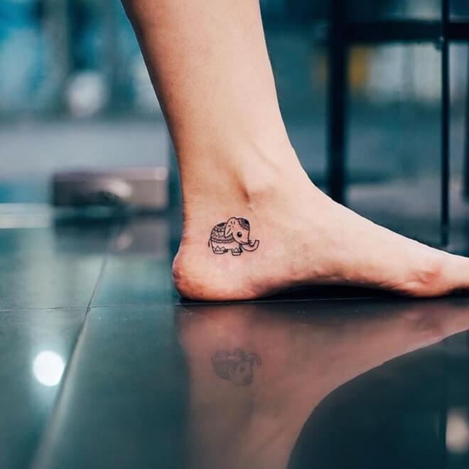 Leg Baby Elephant Tattoo