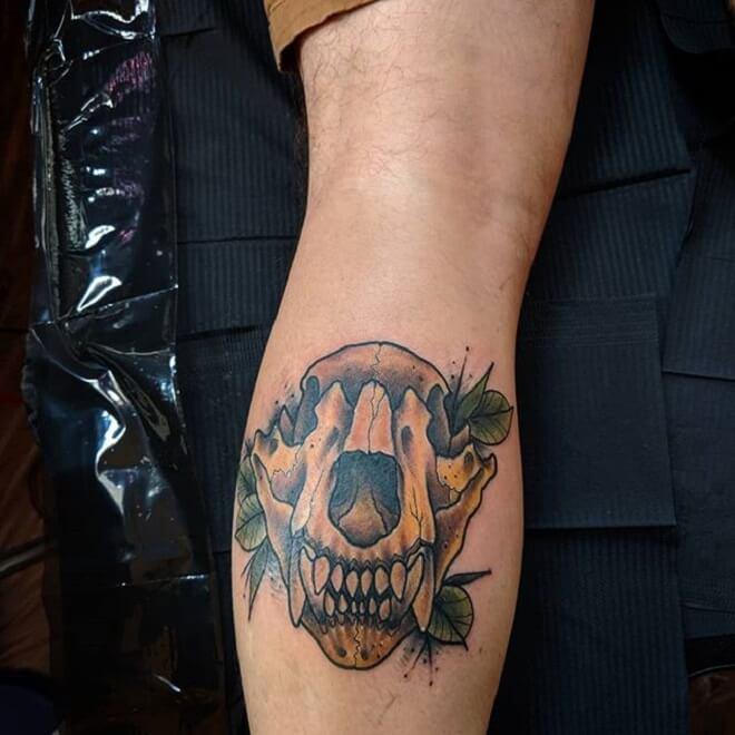 Leg Bear Skull Tattoo