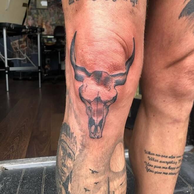 Leg Bull Skull Tattoo