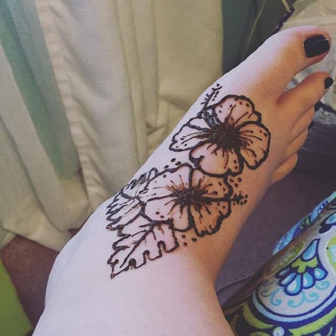 Leg Hibiscus Tattoo