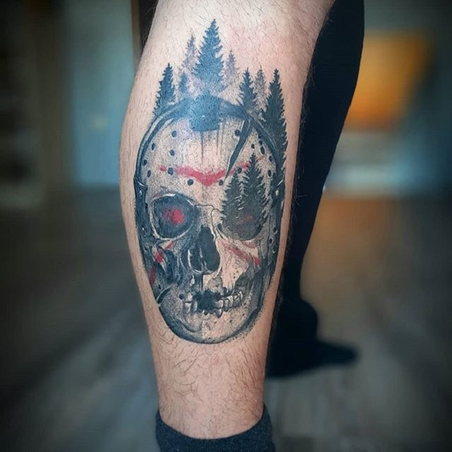 Leg Jason Mask Tattoo