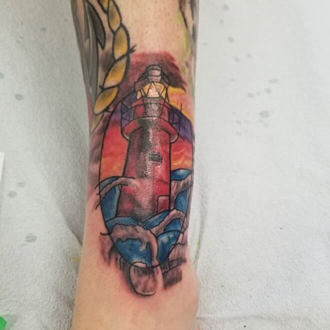 Leg Lighthouse Tattoo