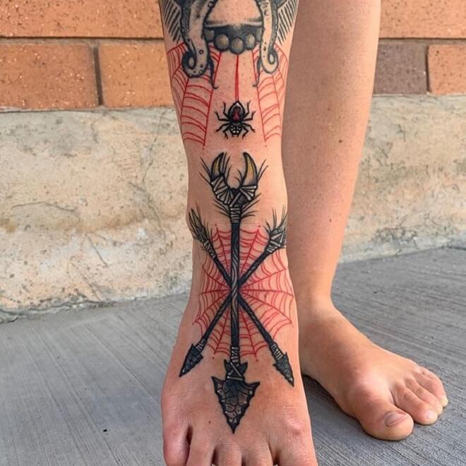 Leg Neo Traditional Tattoo