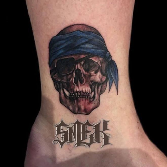 Leg Pirate Skull Tattoo