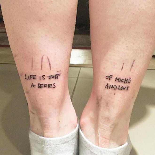 Leg Text Tattoo