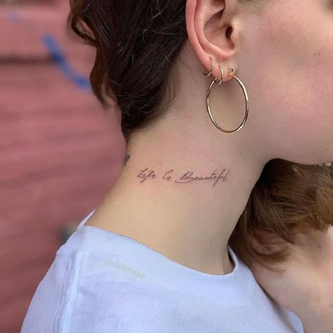 Letters Neck Tattoo